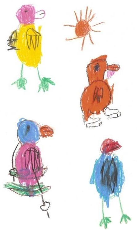 drawings of birds made by children